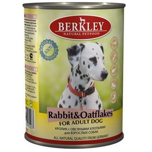 Влажный корм для собак Berkley Rabbit & Oatflakes 0,4 кг