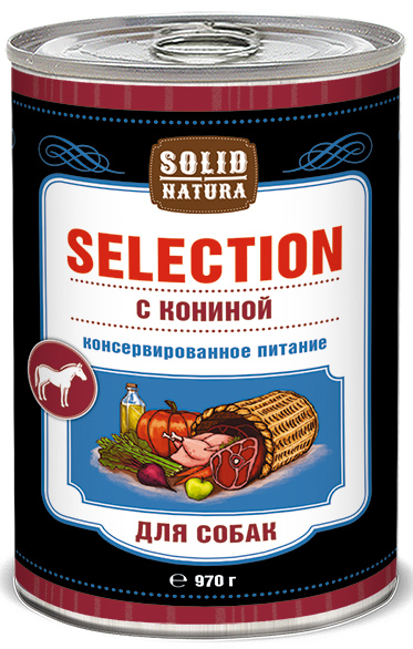 Влажный корм для собак Solid Natura Selection Конина 097 кг.