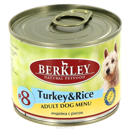 Влажный корм для собак Berkley №8 Turkey & Rice 0,2 кг