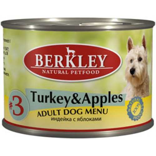 Влажный корм для собак Berkley №3 Turkey & Apples 0,2 кг