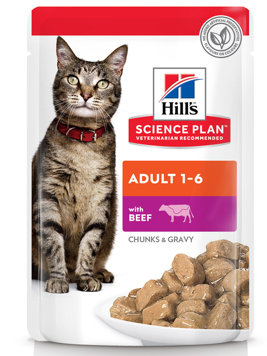 Влажный корм для кошек Hills Science Plan Feline Adult with Beef Pouch 0,085 кг фото