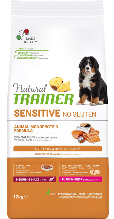 Сухой корм для щенков Trainer Natural Sensitive No Gluten Puppy Medium&Maxi Salmon 12 кг