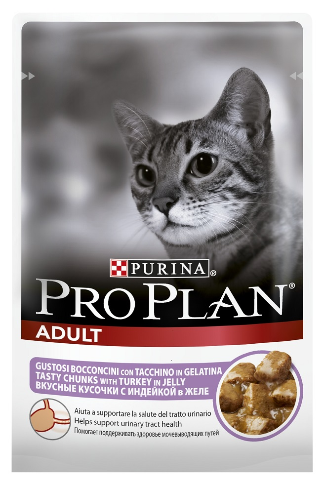 Влажный корм для кошек Purina Pro Plan Adult Feline with Turkey pouch 0085 кг.